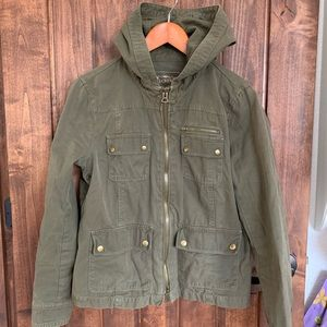 J Crew Utility Jacket Hooded Washed and Aged